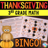 Thanksgiving Math Bingo Game - 3rd Grade - Games 4 Gains  - 1