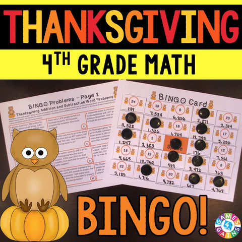 Thanksgiving Math Bingo Game - 4th Grade - Games 4 Gains  - 1