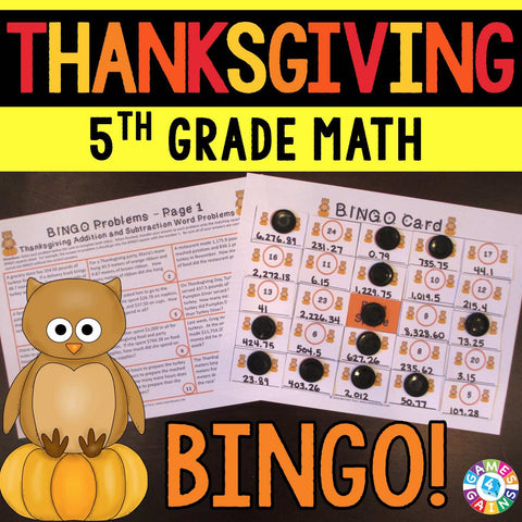 Thanksgiving Math Bingo Game - 5th Grade - Games 4 Gains