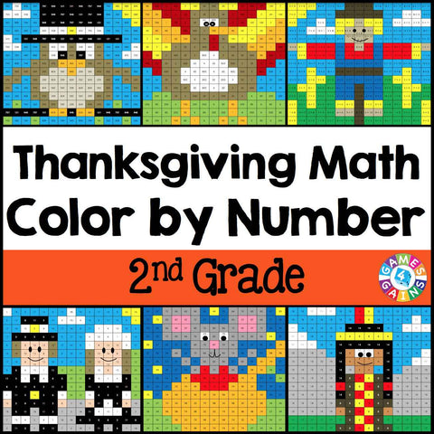 Thanksgiving Math Color-by-Number - 2nd Grade