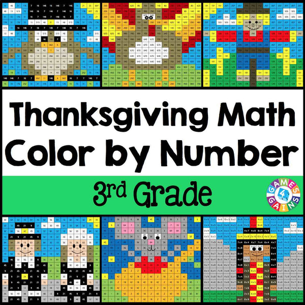 Thanksgiving Math Color-by-Number - 3rd Grade u2013 Games 4 Gains