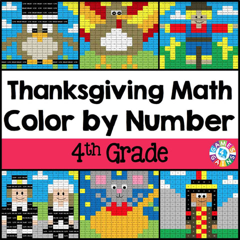 Thanksgiving Math Color-by-Number - 4th Grade - Games 4 Gains  - 1
