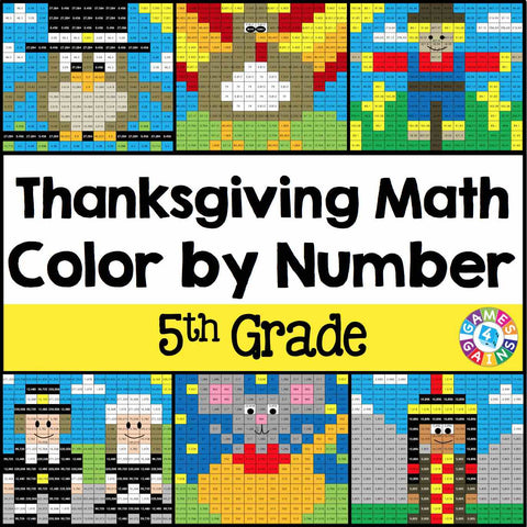 Thanksgiving Math Color-by-Number - 5th Grade - Games 4 Gains