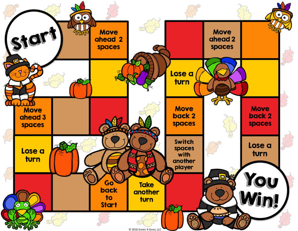 Thanksgiving Reading Prehension Board Game – Games 4 Gains