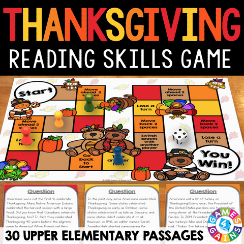 Thanksgiving Reading Comprehension Board Game - Games 4 Gains  - 1