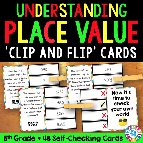 Understanding Place Value 5th Grade 'Clip and Flip' Cards - Games 4 Gains  - 1