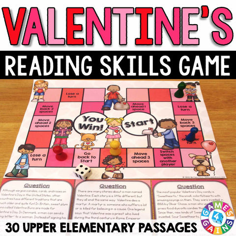 Valentine's Day Reading Comprehension Board Game - Games 4 Gains  - 1