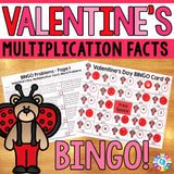Valentine's Day Math Bingo - Multiplication Facts - Games 4 Gains  - 1