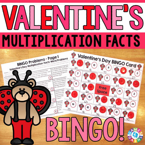 valentines day math bingo multiplication facts games 4 gains 1