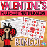 Valentine's Day Math Bingo - Multi-Digit Multiplication - Games 4 Gains  - 1