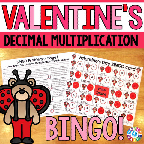 Valentine's Day Math Bingo - Decimal Multiplication - Games 4 Gains  - 1