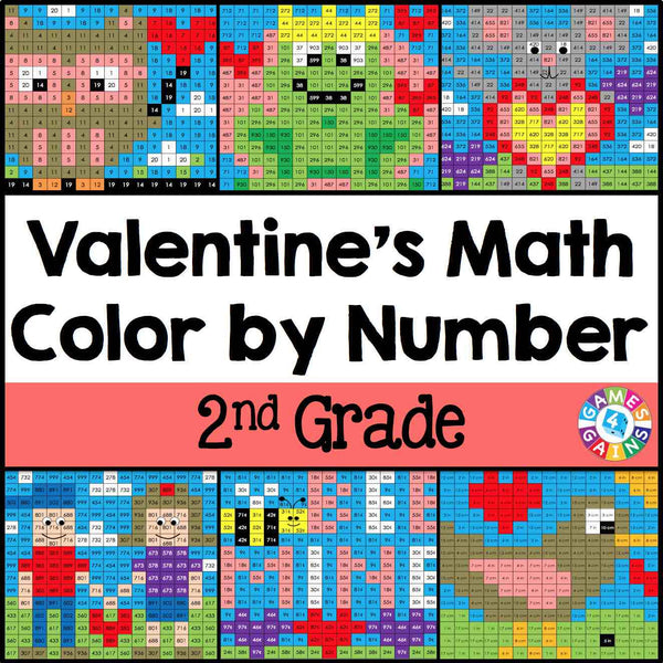 valentine 39 s day math color by number 2nd grade games 4 gains. Black Bedroom Furniture Sets. Home Design Ideas