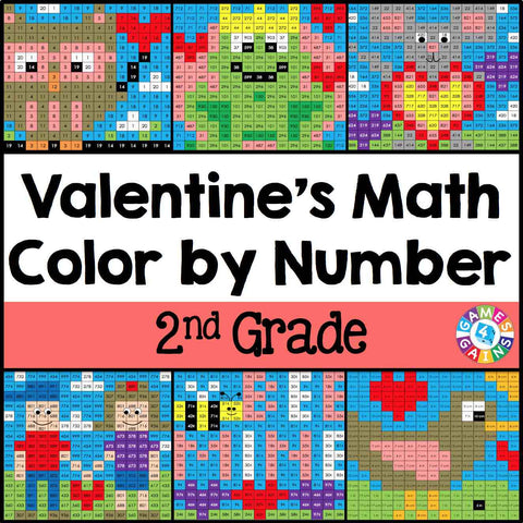 Valentine's Day Math Color-by-Number - 2nd Grade - Games 4 Gains