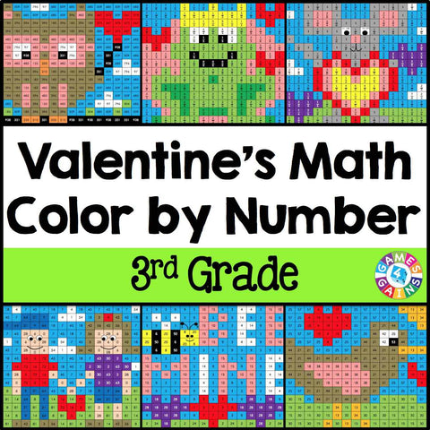 Valentine's Day Math Color-by-Number - 3rd Grade - Games 4 Gains