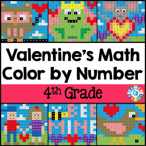 Valentines Day Math ColorbyNumber 4th Grade Games 4 Gains