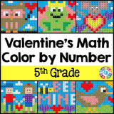 Valentine's Day Math Color-by-Number - 5th Grade - Games 4 Gains