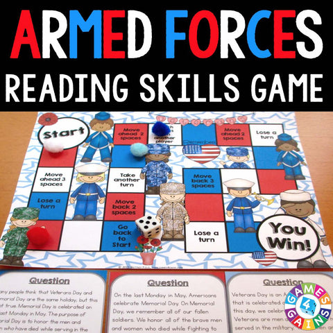 Armed Forces Reading Comprehension Board Game - Games 4 Gains  - 1