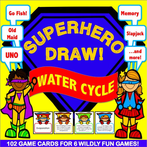 Water Cycle 'Superhero Draw' Game - Games 4 Gains  - 1