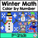Winter Math Color-by-Number - 3rd Grade - Games 4 Gains  - 1