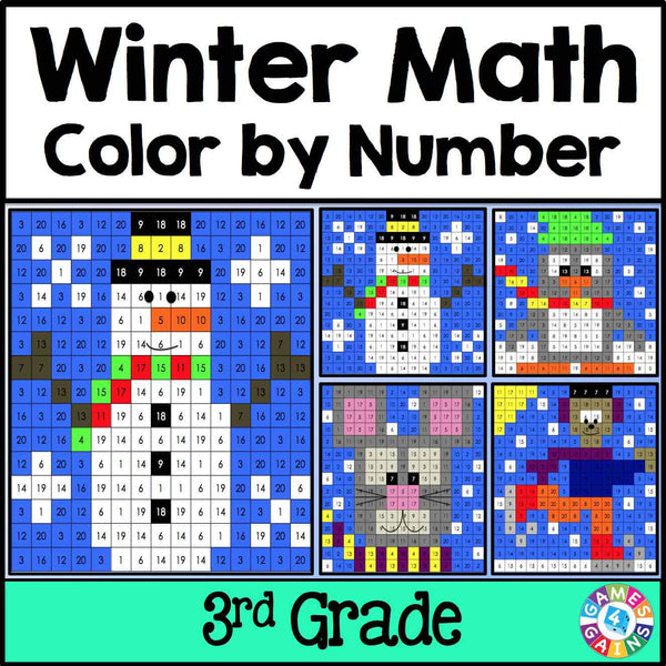 Winter Math Color-by-Number - 3rd Grade