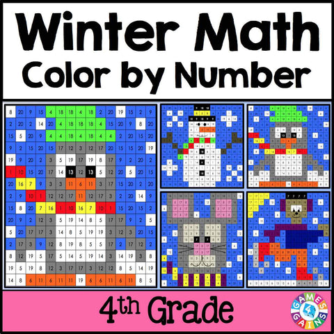 Winter Math Color-by-Number - 4th Grade - Games 4 Gains  - 1