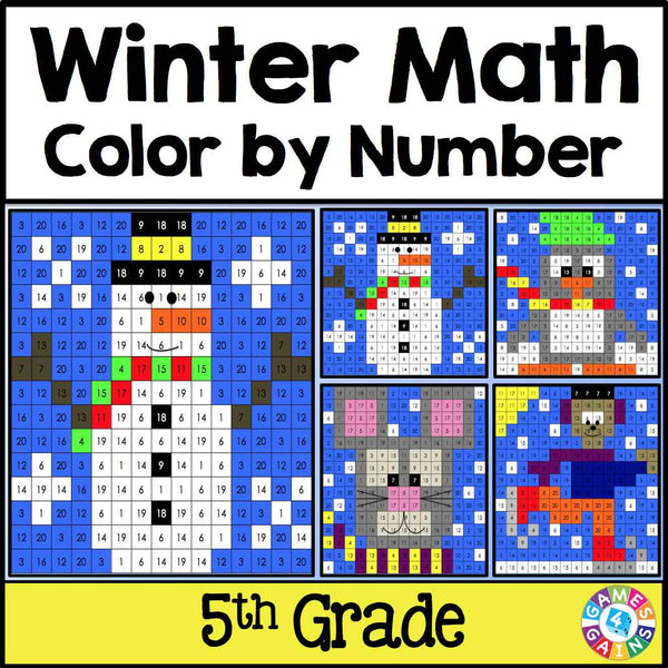 winter math color by number 5th grade games 4 gains. Black Bedroom Furniture Sets. Home Design Ideas
