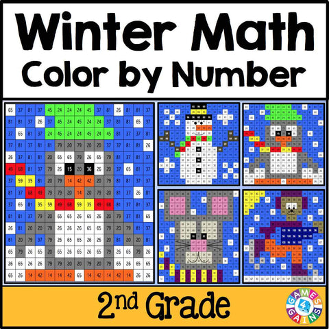 Winter Math Color-by-Number - 2nd Grade - Games 4 Gains