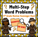Multi-Step Word Problem Task Cards for 4th Grade - Games 4 Gains  - 1