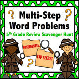 Multi-Step Word Problem Task Cards for 5th Grade - Games 4 Gains  - 1