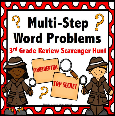 Multi-Step Word Problem Task Cards for 3rd Grade - Games 4 Gains  - 1