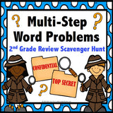 Multi-Step Word Problems Task Cards for 2nd Grade - Games 4 Gains  - 1