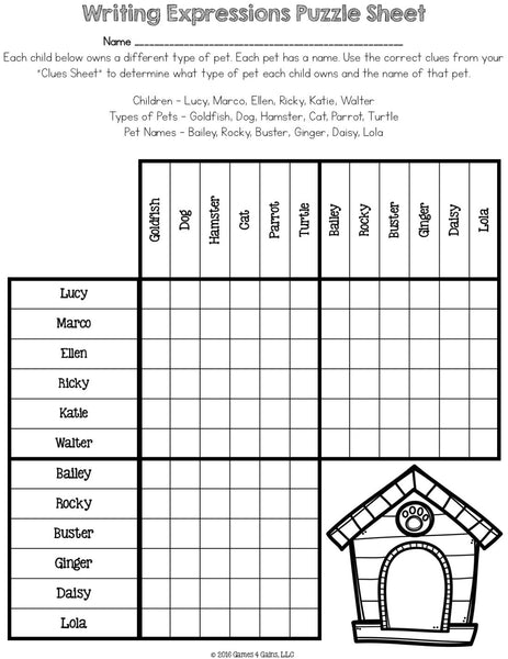 Writing Expressions From Words Logic Puzzle (5 OA 2)