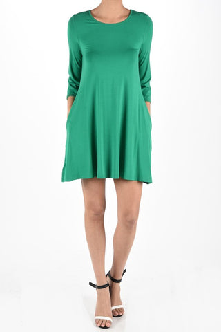 Forest Green 3/4 sleeve dress with Pockets