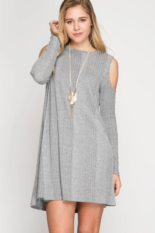 Grey Cold Shoulder Ribbed Dress