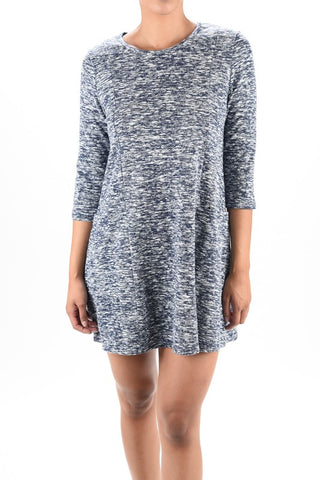 NAVY 3/4 Sleeve Knit Flair Dress