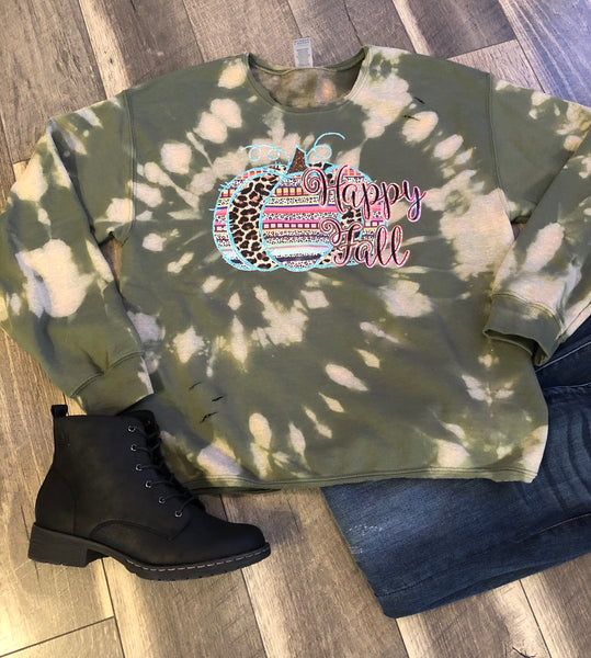 Olive Hello Fall Tie Dye Sweatshirt