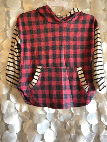 Kids Buffalo Plaid Hoodie with Striped Sleeves