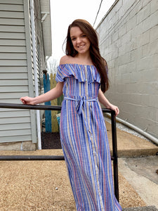 Denim Striped Off Shoulder Woven Dress