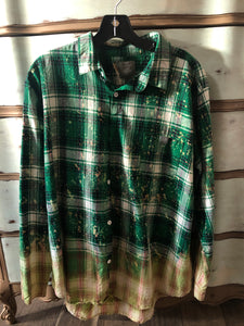 Kelly Green Bleached Plaid