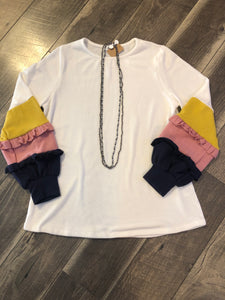 Off White Top with Color Block Sleeve