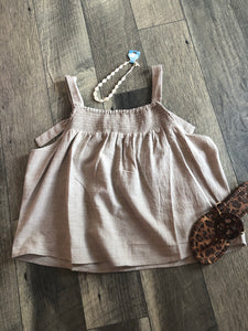 "Taupe ""D"" Ring Tank"