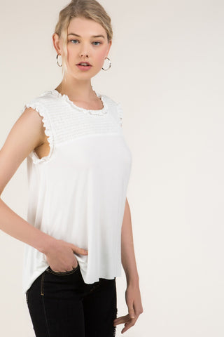 Ivory Sleeveless with Smock Top