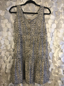 Sleeveless Leopard and Button Dress