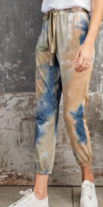 Blue and Taupe Tie Dye Joggers