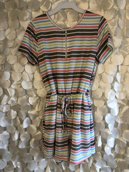 Multi-Striped Romper with Zipper Front