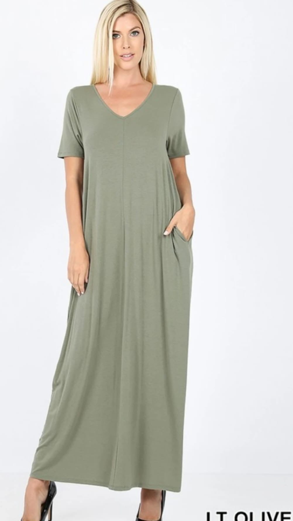 Olive Maxi with Pockets