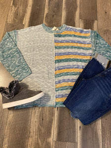 Teal and Grey Multi Color Sweater