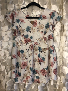 Sheer Ivory and Floral Tank