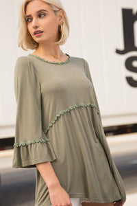 Olive Baby Doll Top