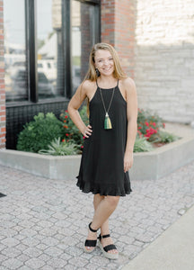 Black Cami Dress with Pleated Bottom